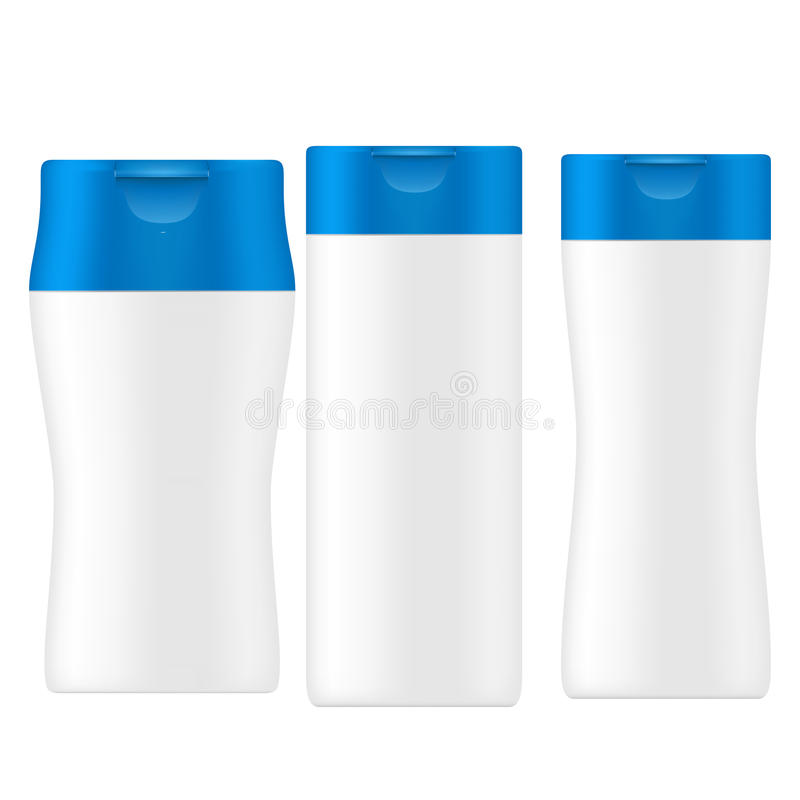 SET of white gray beauty products/cosmetics bottle with blue flip top cap. VECTOR PACKAGING: SET of white gray beauty products/cosmetics bottle with blue flip stock illustration