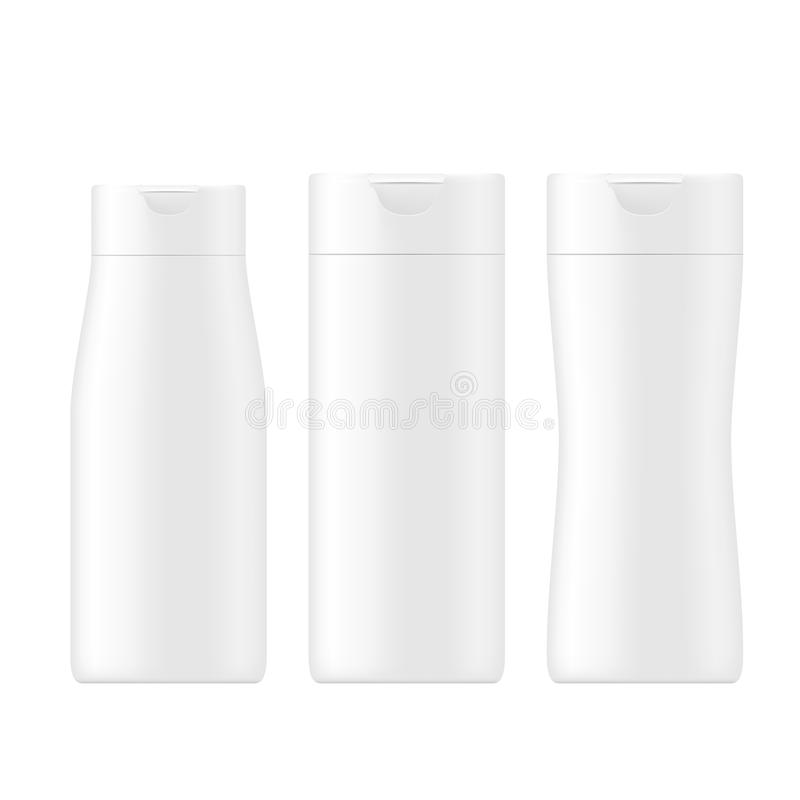 SET of white gray beauty products/cosmetics bottle. VECTOR PACKAGING: SET of white gray beauty products/cosmetics bottle on isolated white background. Mock-up stock illustration
