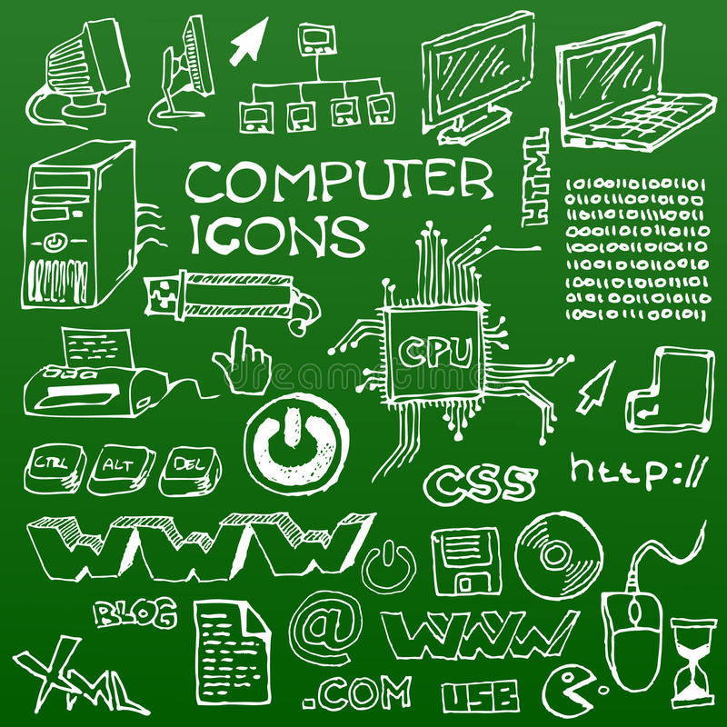 Download Set Of White Hand-drawn Computer Icons Royalty Free Stock Image - Image: 13821746