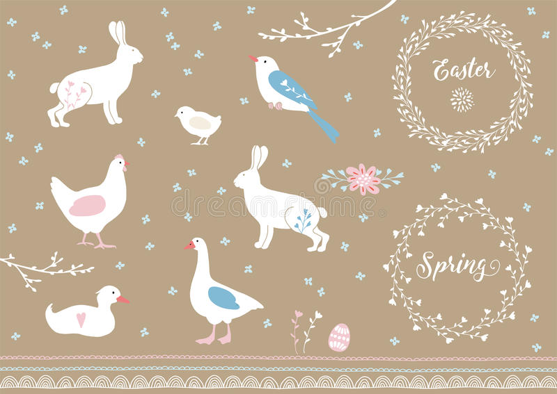 Set of white hand drawn Easter and spring elements. Farm animals, flowers and decorative borders. Vintage design royalty free illustration
