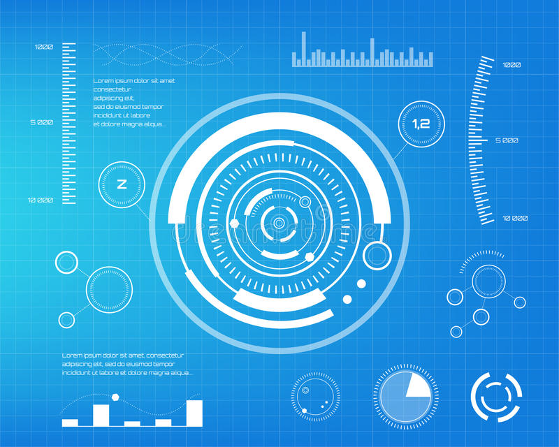 Set of white infographic elements. Head-up display elements for the web and app. Futuristic user interface. Virtual stock illustration