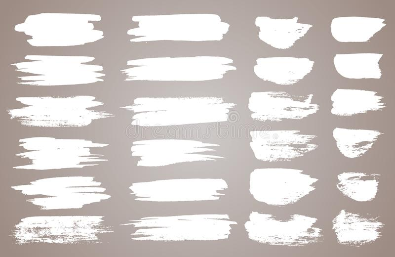 Set of white ink vector stains. Vector black paint, ink brush stroke, brush, line or round texture. Dirty artistic stock illustration