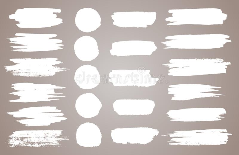 Set of white ink vector stains. Vector black paint, ink brush stroke, brush, line or round texture. Dirty artistic. Design element, box, frame or background for royalty free illustration