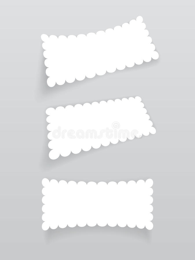 Set of white labels with shadow. vector illustration