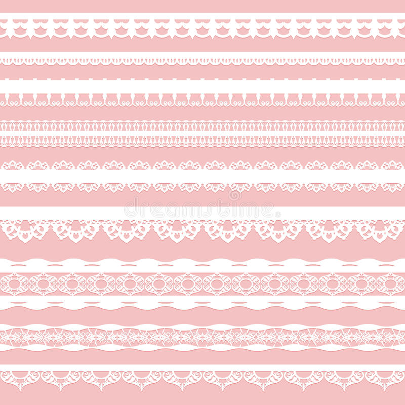 Set of white lace braid on a pink background. stock illustration