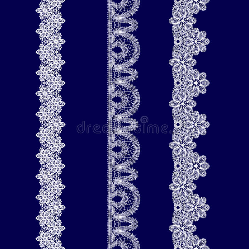 Set of white lace ribbons royalty free stock photography