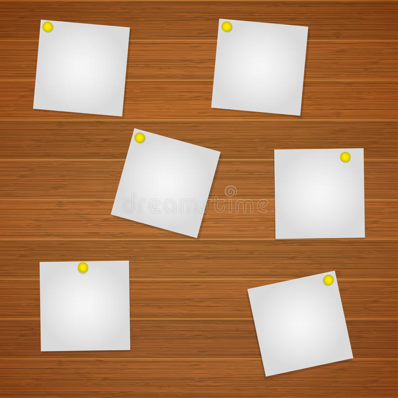 Set of white leaflets for notes on the wooden background stock illustration