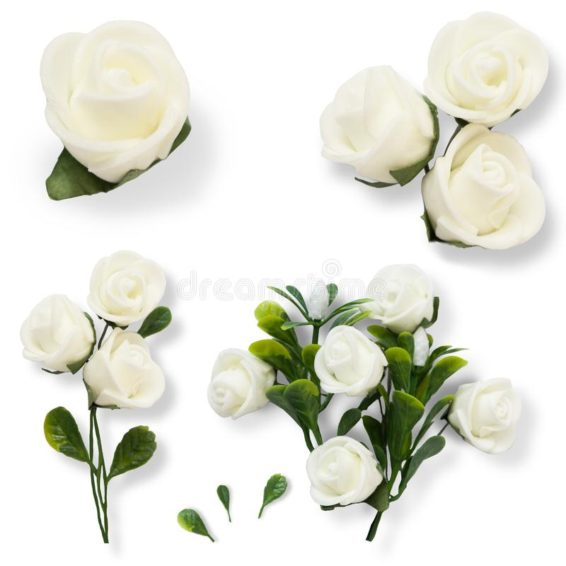 Set with white made roses and leaves for graphic design isolated on white background stock images