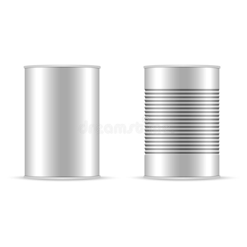 Set of white and metallic tin can with white cap. Bank canning object, Bank food sign, Vector realistic illustration. vector illustration