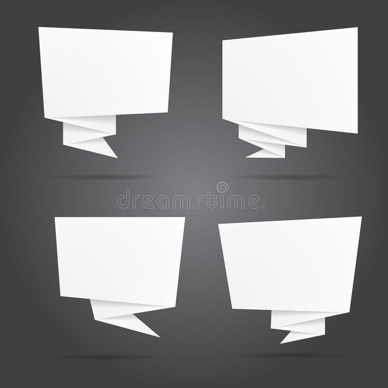 Set of white origami paper template. Vector illustration. royalty free illustration