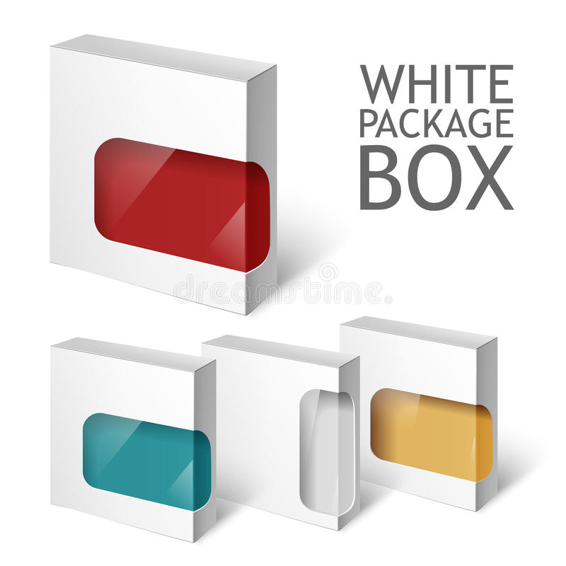 Set Of White Package Box. Mockup Template Stock Vector