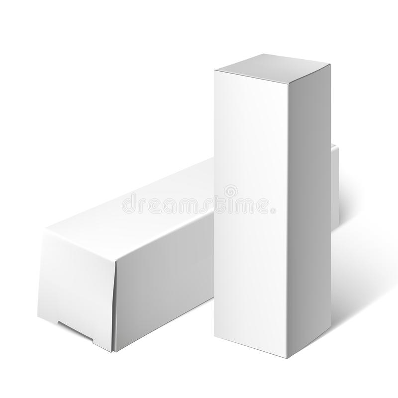 Set Of White Package Box. Mockup Template vector illustration