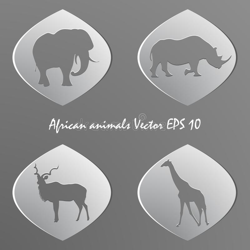 Set of white paper stickers. Silhouettes of african animals stock illustration