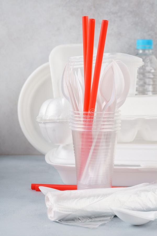 Set of white plastic disposable tableware and packaging. Various crockery stock photos