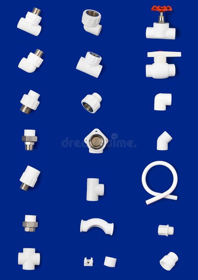 Set of white plastic fittings