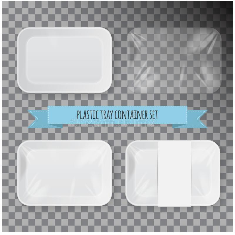 Set of White Rectangle Styrofoam Plastic Food Tray Container. Vector Mock Up Template. For your design royalty free illustration