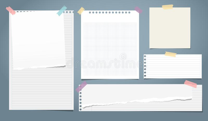 Set of white ripped notebook paper, torn note paper strips stuck with colorful sticky tape on blue background. Vector. Illustration stock illustration