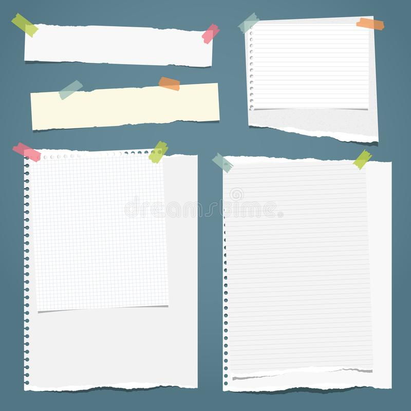 Set of white ripped notebook paper, torn note paper strips stuck with colorful sticky tape on blue background. Vector. Illustration vector illustration