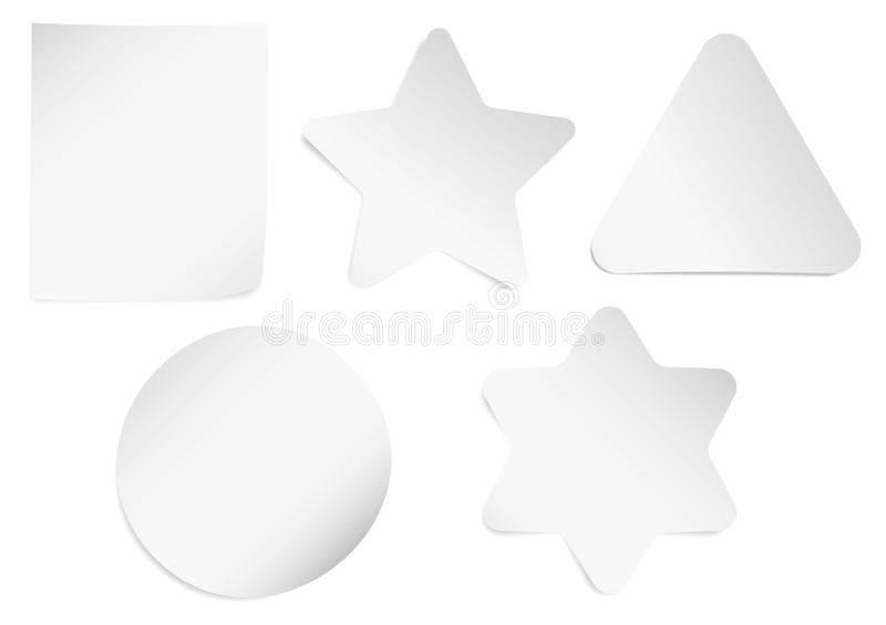 Set of white sheets of note paper isolated on transparent background. Five sticky notes. Vector illustration stock illustration