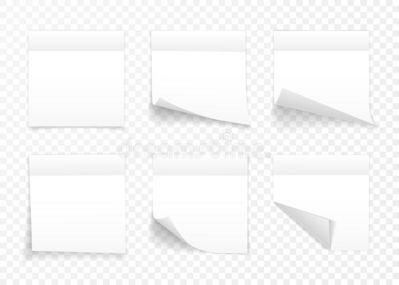 Set of white sheets of note paper isolated on transparent background. Sticky notes. Vector illustration stock illustration