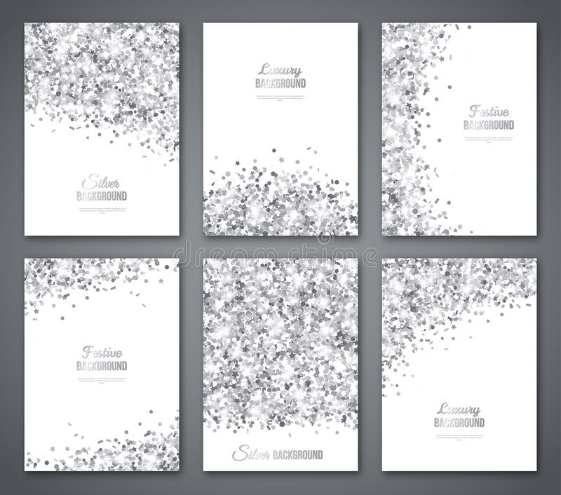 Set of White and Silver Banners. Greeting Card or Flyers Design. Grey Confetti Glitter. Vector illustration. Sequins Pattern. Lights and Sparkles. Glowing royalty free illustration