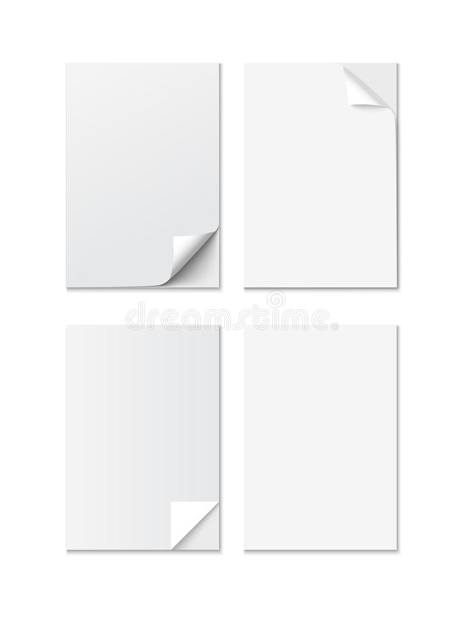 Set of White A4 size paper sheet with different curled corners, realistic vector vector illustration