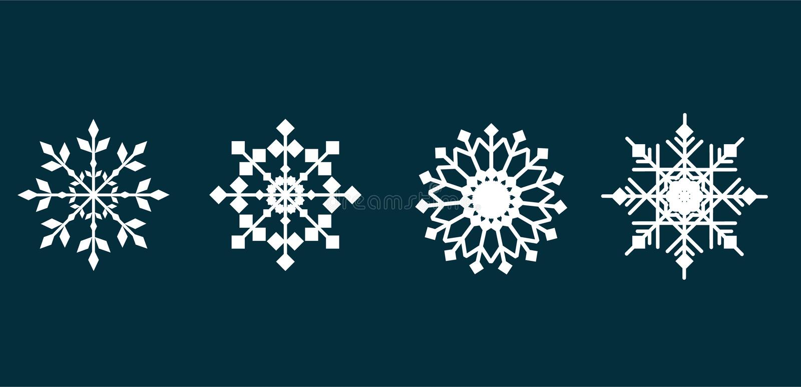 Set of white snowflakes icons. Vector illustration on blue isolated background royalty free stock image