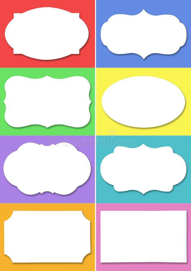 Set of white label with different shape on different colourful background vector illustration