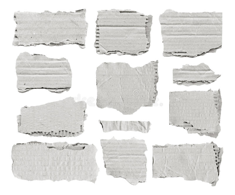 Set of white torn paper pieces for notes. royalty free stock photo