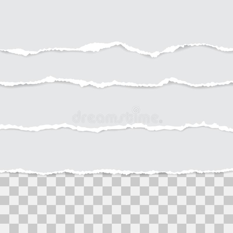 Set of white torn paper. vector illustration with shadows.  royalty free illustration