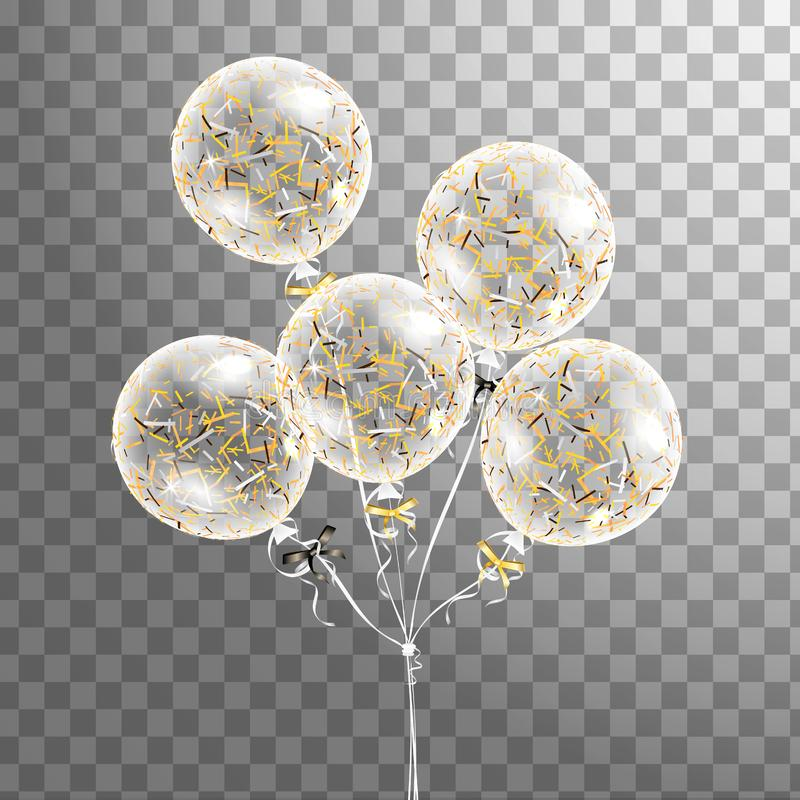 Set of white transparent balloon with confetti in the air . Frosted party balloons for event design. Party decorations fo vector illustration
