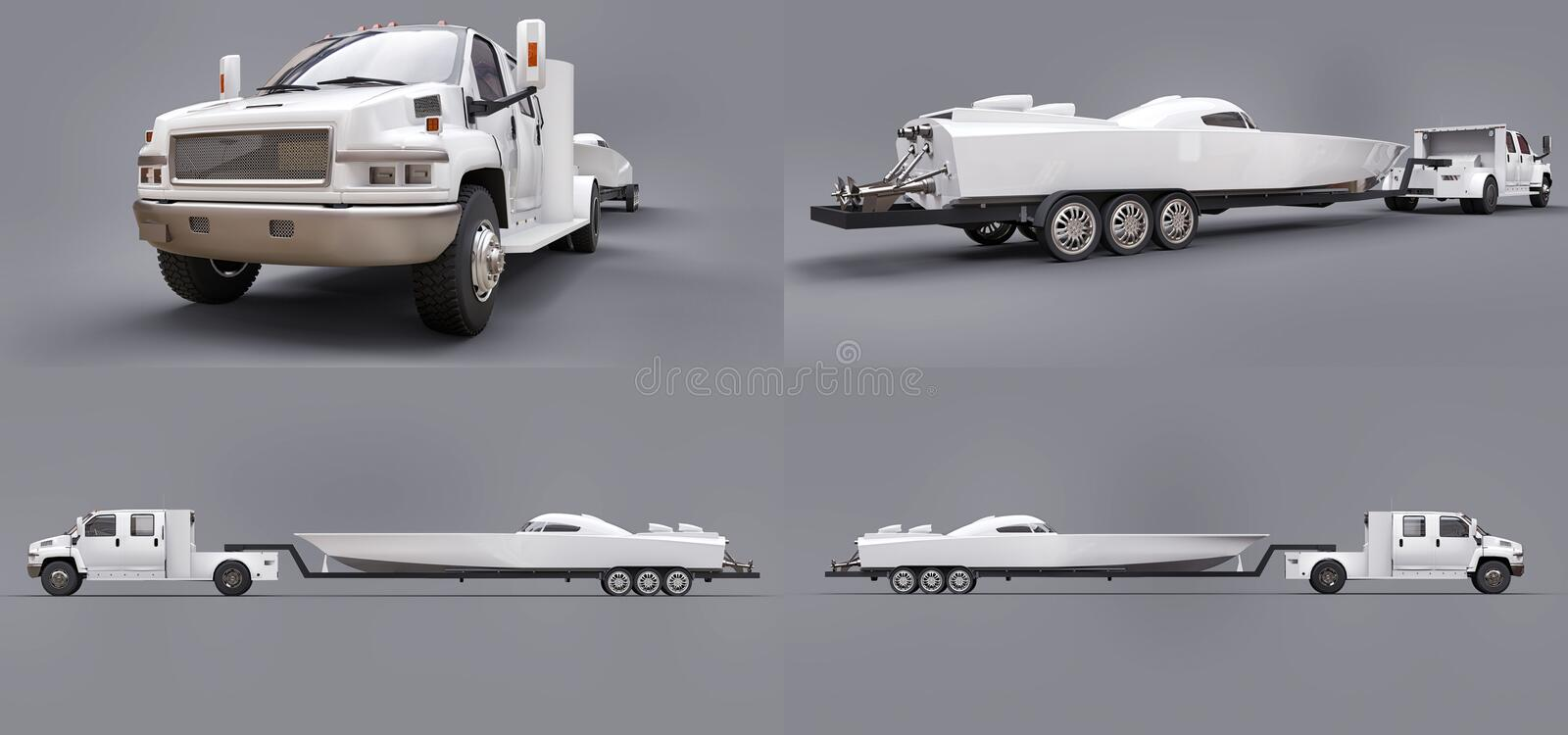 Set white truck with a trailer for transporting a racing boat on a grey background. 3d rendering. stock illustration