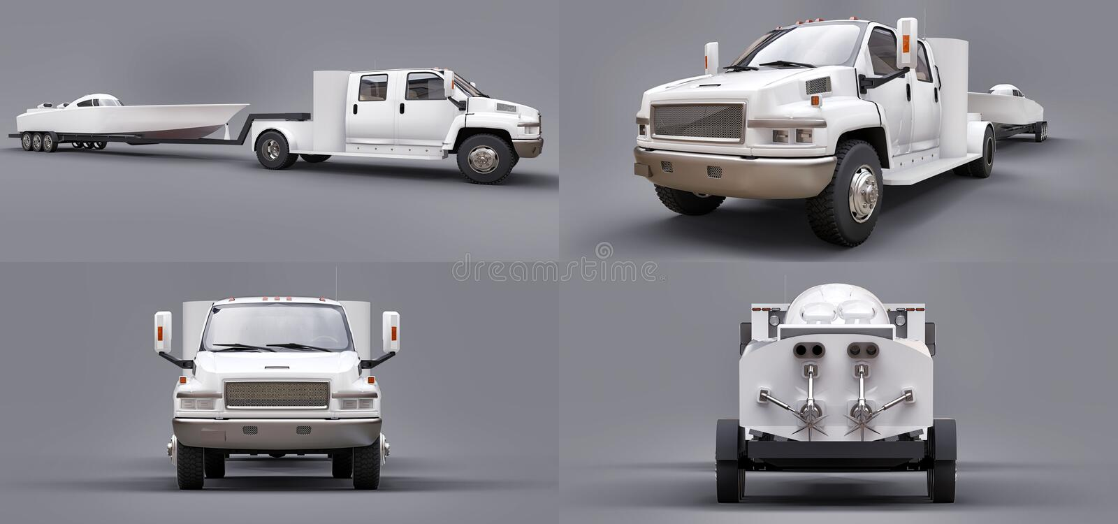 Set white truck with a trailer for transporting a racing boat on a grey background. 3d rendering. Set white truck with a trailer for transporting a racing boat vector illustration
