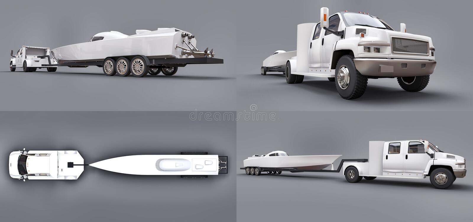Set white truck with a trailer for transporting a racing boat on a grey background. 3d rendering. vector illustration
