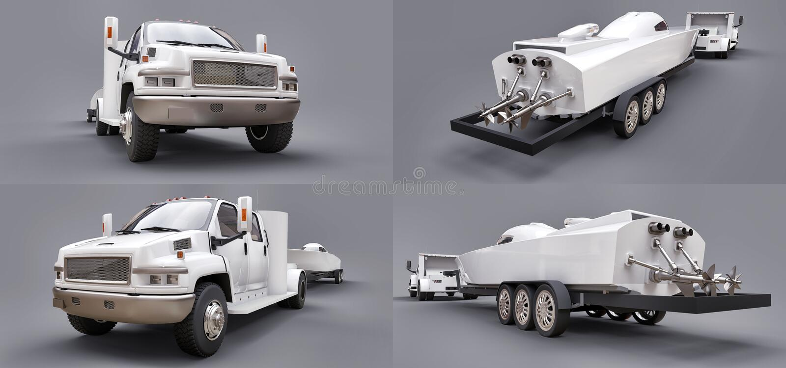 Set white truck with a trailer for transporting a racing boat on a grey background. 3d rendering. royalty free illustration