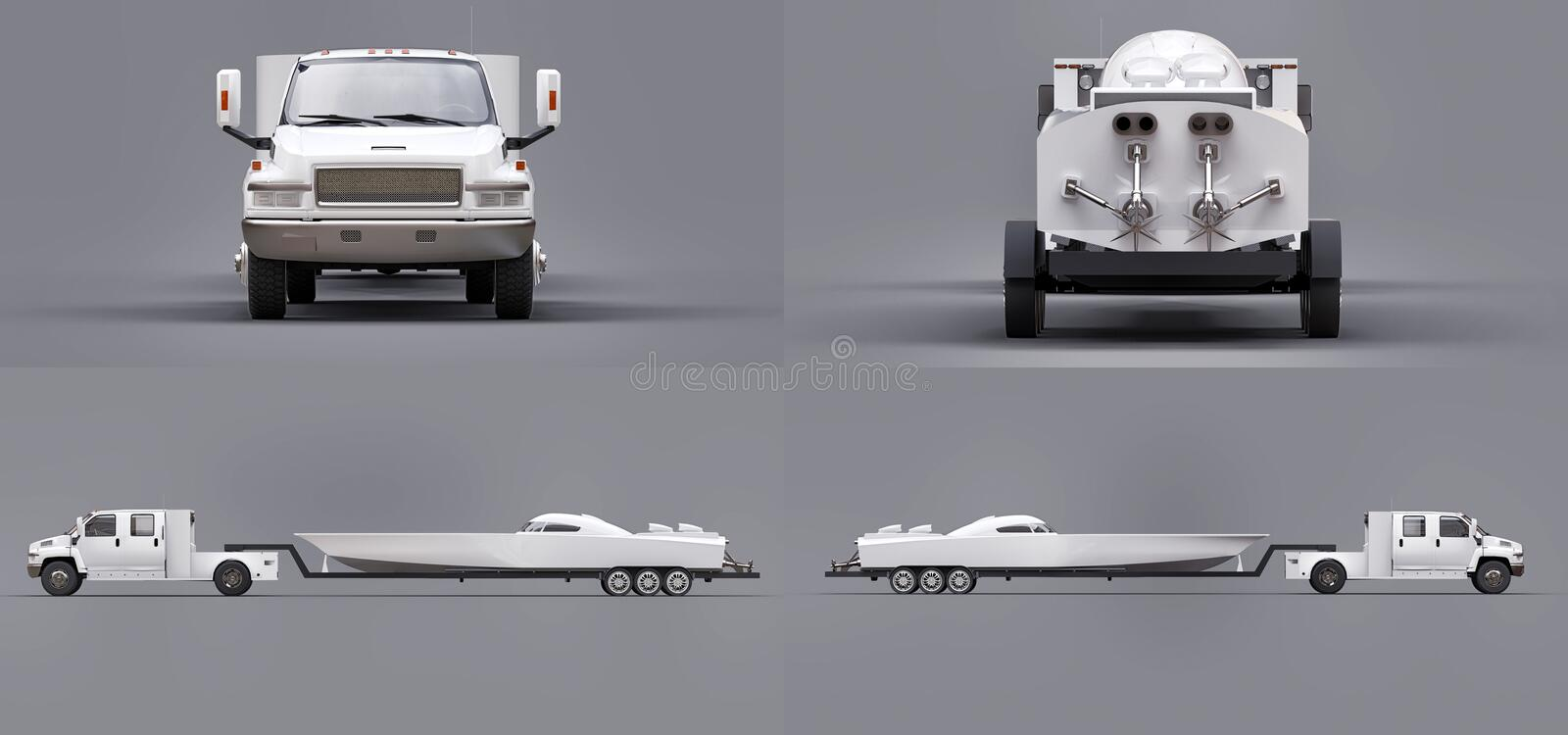 Set white truck with a trailer for transporting a racing boat on a grey background. 3d rendering. Set white truck with a trailer for transporting a racing boat royalty free illustration