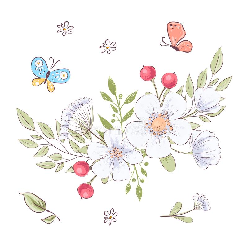 Set of wildflowers and butterflies. Hand drawing. Vector illustration royalty free illustration