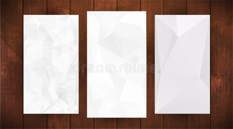 Set of white wrinkled stylized paper on wooden background. Set of tree white wrinkled paper on dark wooden background, triangular illustration royalty free illustration