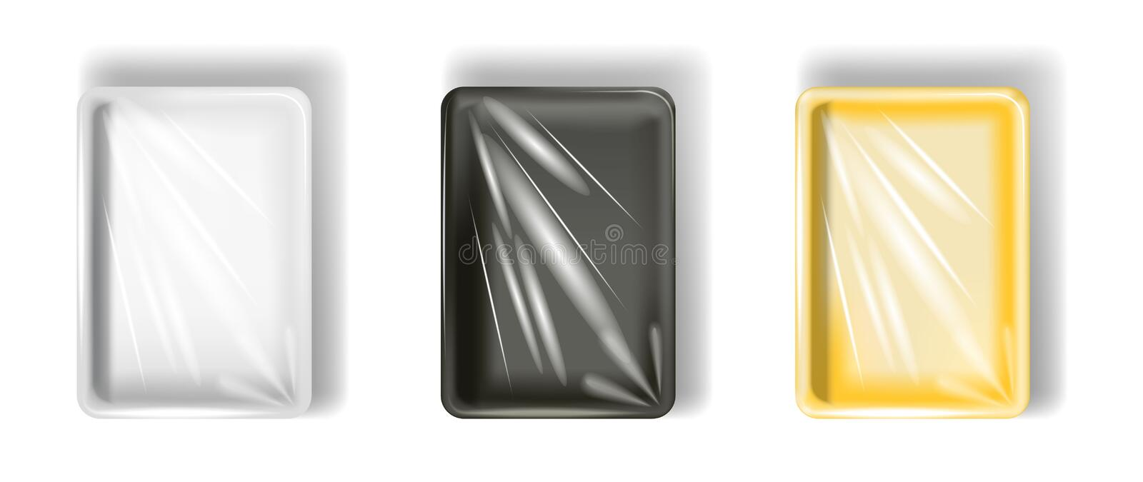 Set of white, yellow, black polystyrene packaging, with transparent film. Isolated on white background. stock illustration