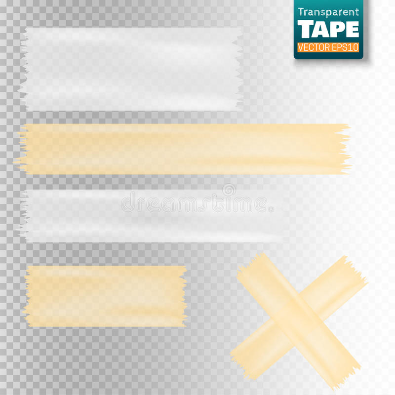 Set of white and yellow transparent scotch tape sticky slices stock illustration