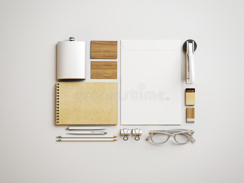 Set of whitSet of white and craft branding elements on paper background stock photos