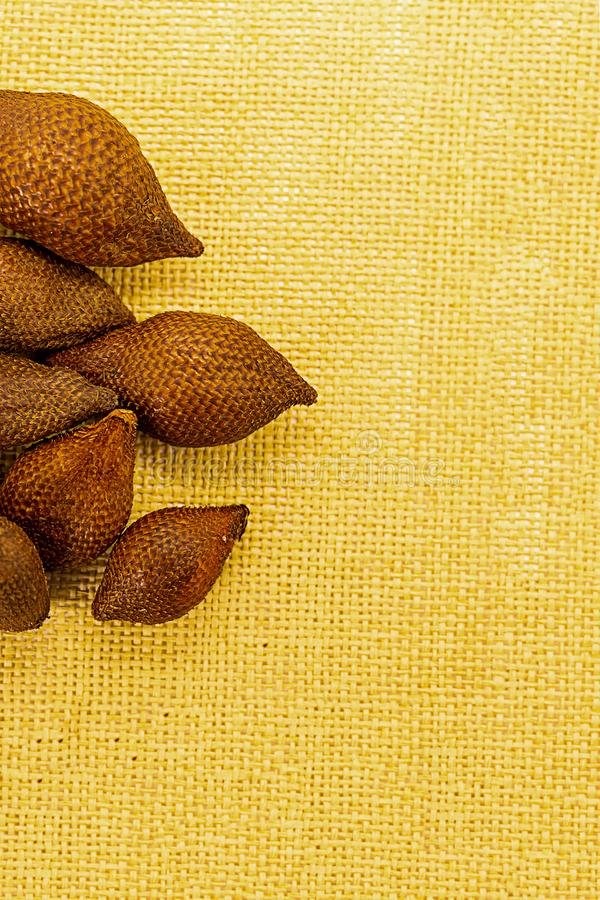 Set of whole fruits snake fruit salacca spiny uneven skin exotic fruit of indonesia asia on a yellow background royalty free stock image