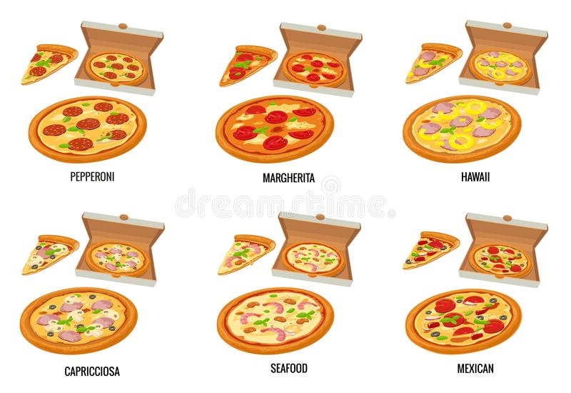 Set whole and slice pizza in open white box. Pepperoni, Hawaiian, Margherita, Mexican, Seafood, Capricciosa. Vector isolated flat vector illustration