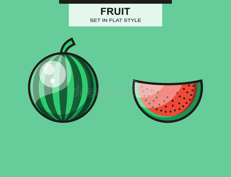 Set of whole and sliced watermelon pieces royalty free illustration