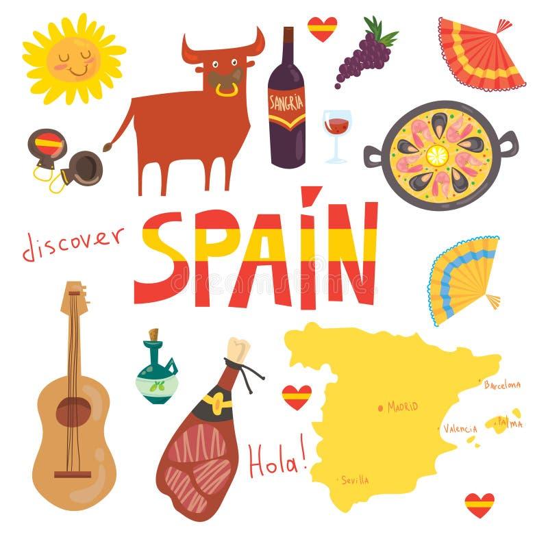 Set więcej niż 12Spanish symbole: byk, gitara, mapa, paella, wino, gitara, oliwa z oliwek, castanetsmusic instrument, jamonSpanis zdjęcia royalty free