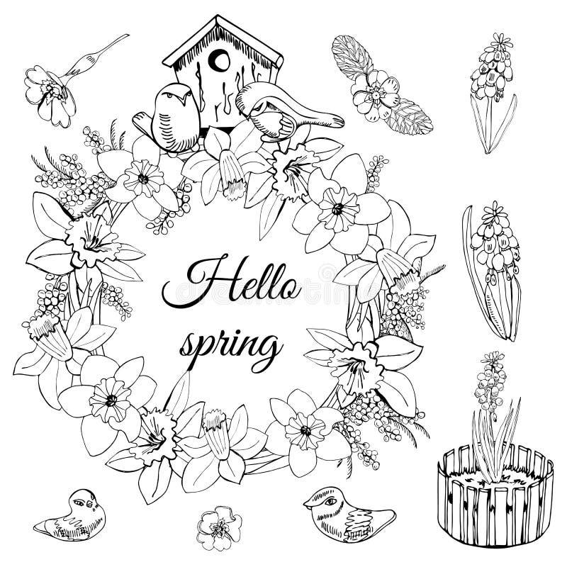 Set wianek wiosna kwiaty, gniazdujący pudełkowatych i małych ptaki Ręka rysujący monochromatyczny nakreślenie odizolowywający na  ilustracja wektor