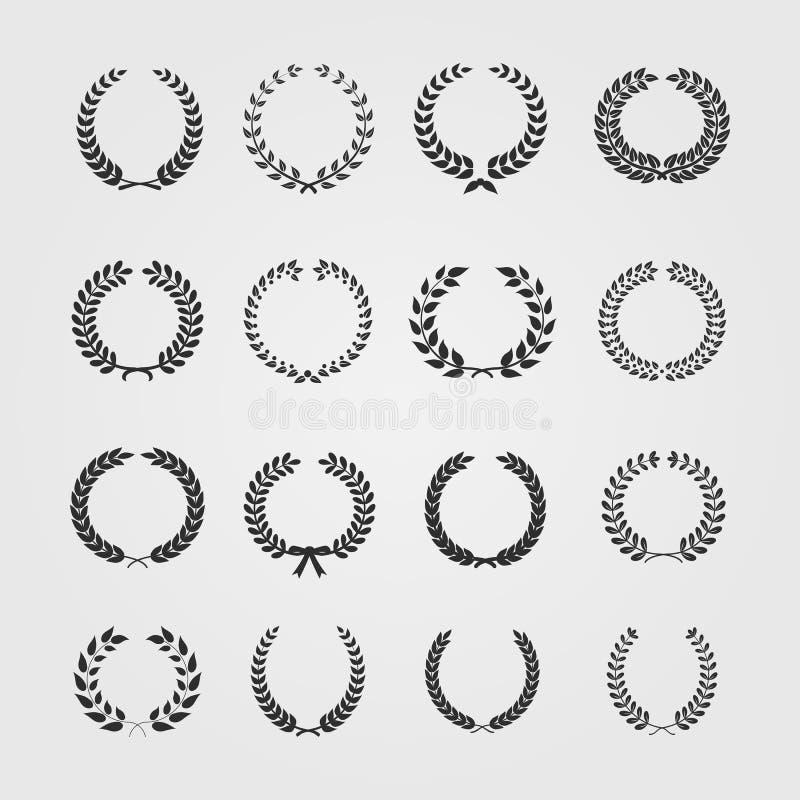 Set wianki, pszeniczna kółkowa laurowa heraldyka ilustracji