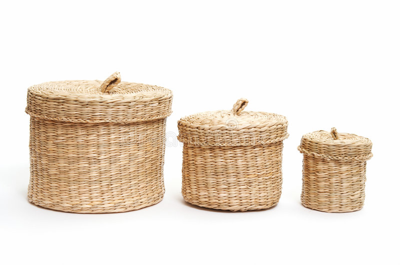 Set Of Wicker Baskets Stock Images