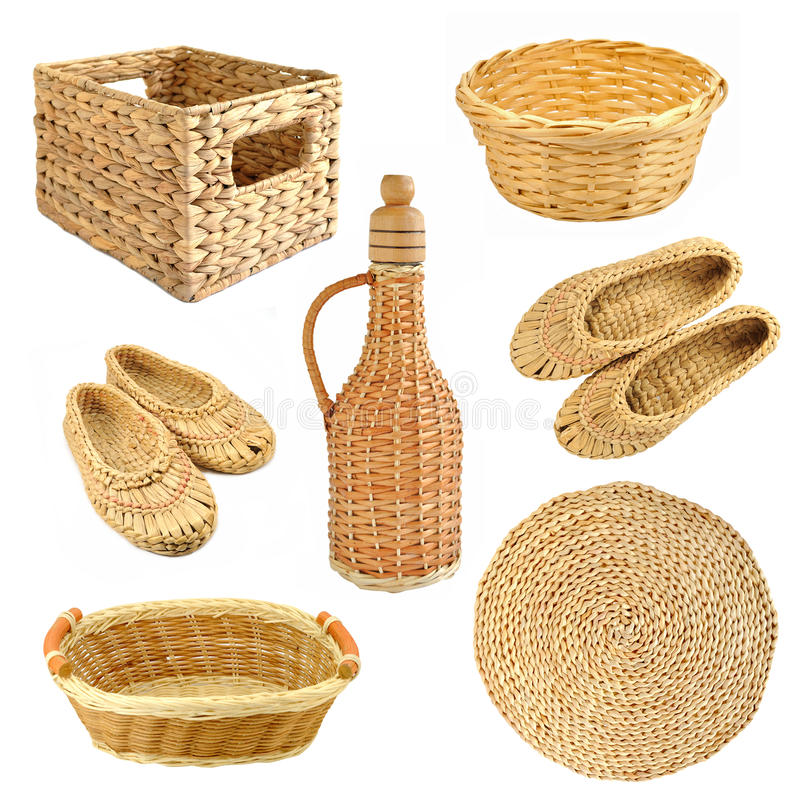 Download Set of wicker objects stock image. Image of fabric, grain - 26539235