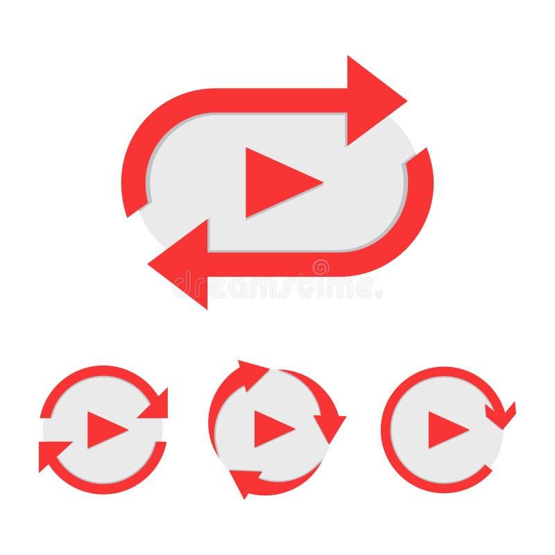 Set wideo sztuka guzik jak prosta powtórki ikona ilustracja wektor
